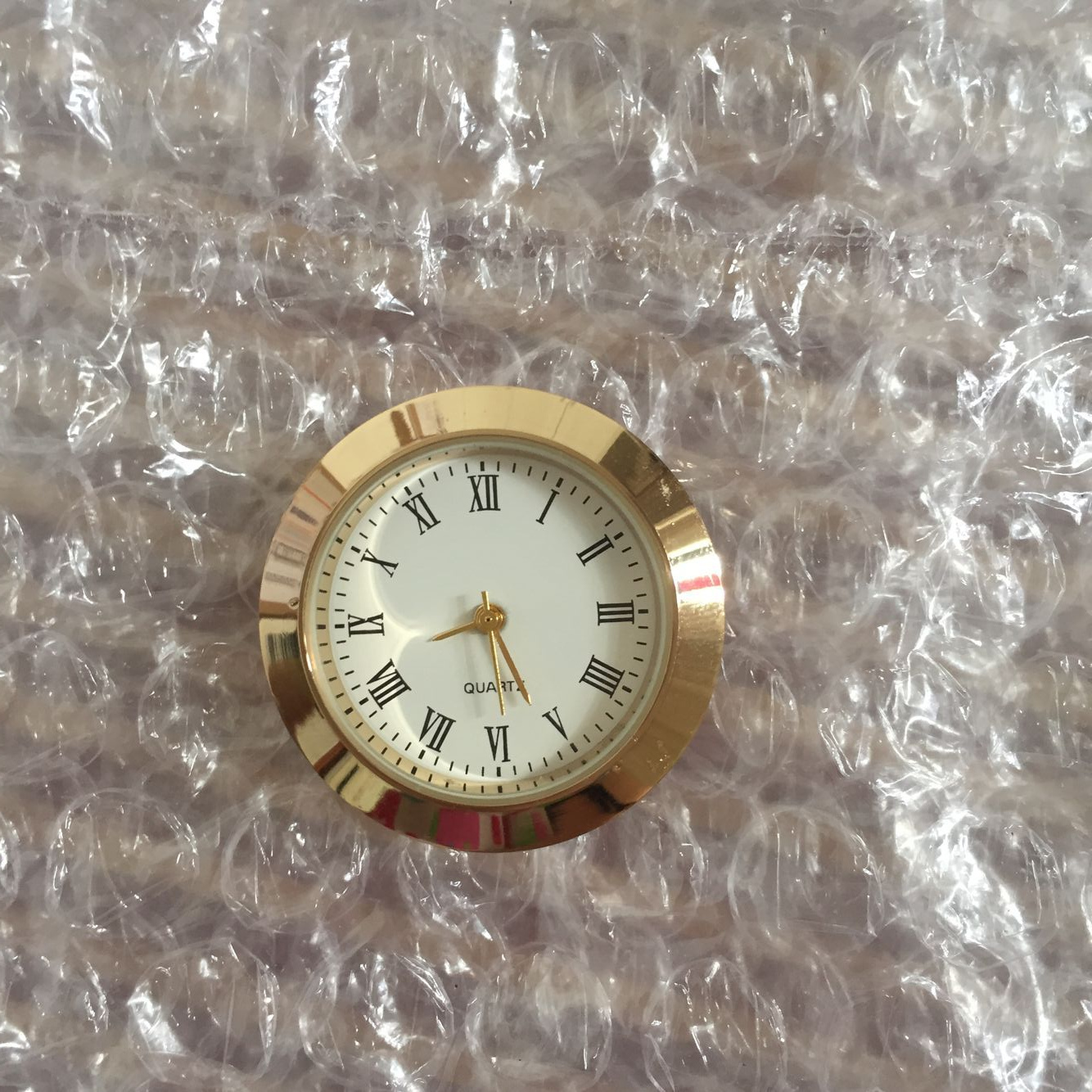 mini 27.5mm gold metal insert clock