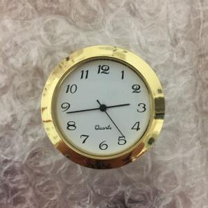 "plastic 1 7/16"" clock fitup gold case with white arabic dial"