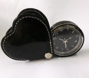 heart shape leather travel clock pocket clock