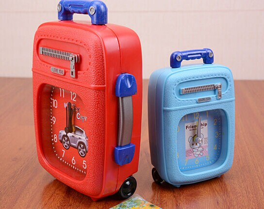 plastic luggage alarm clock desk clock