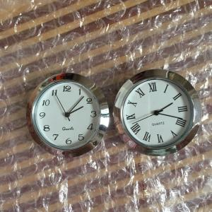 36mm plastic silver  fit up clocks